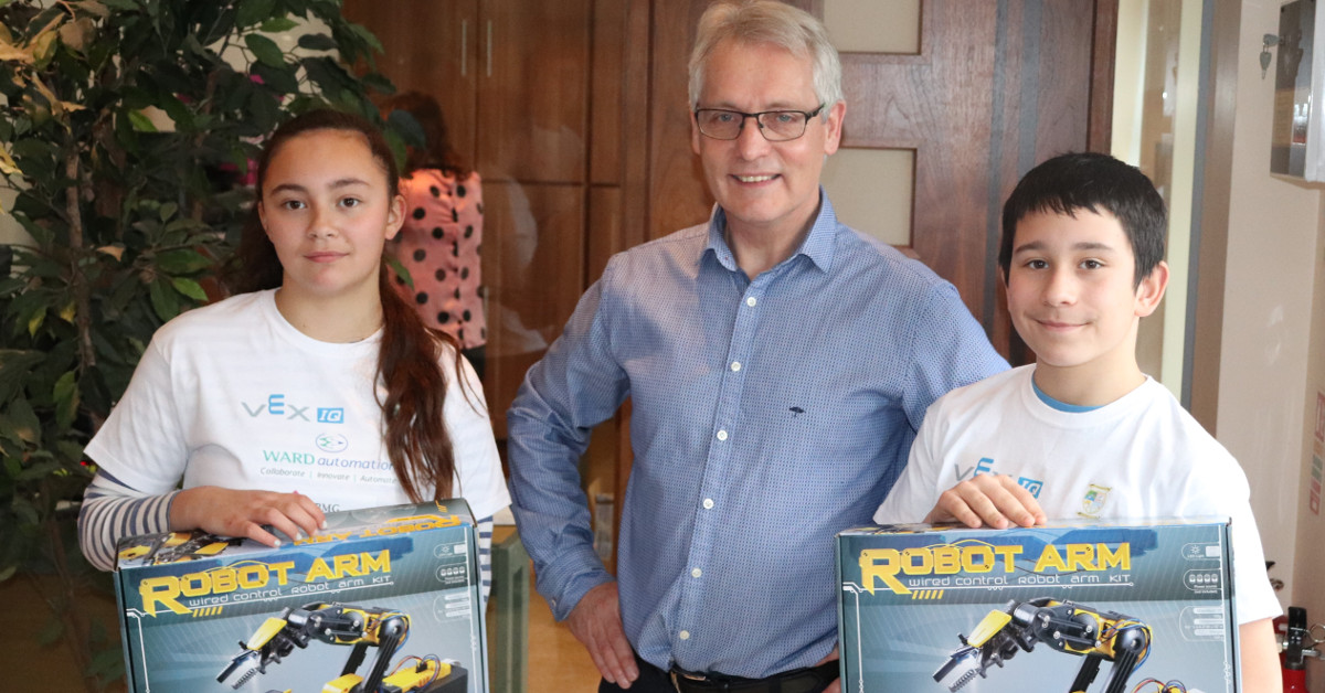 Robotics Competition Winners from St Macartans NS Visit Ward Automation