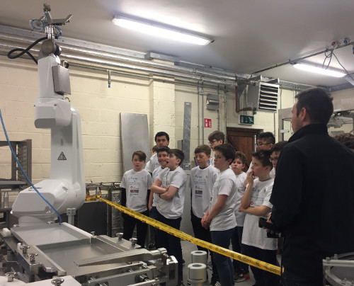 Students from St Macartans NS get robotics demonstration at Ward Automation